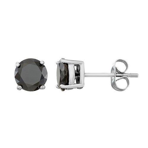 Men's Stainless Steel Black Cubic Zirconia Stud Earrings