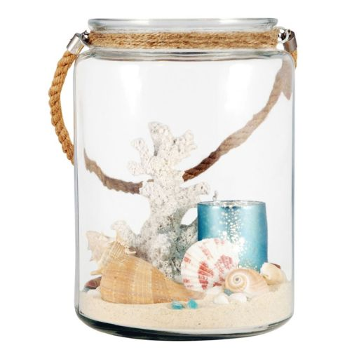 Pomeroy Faux Coral & Shell Glass Terrarium Candle Holder