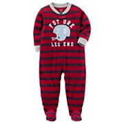 Toddler Boy Carter's Striped Football Fleece Footed Pajamas