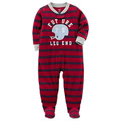 Toddler Boy Carter's Striped Football Fleece Footed Pajamas