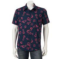 Men's Ocean Current Tropical Print Button-Down Shirt
