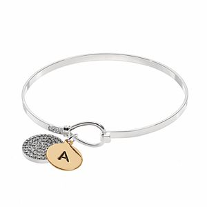 Two Tone Silver Plated Crystal Disc Initial Charm Bangle Bracelet