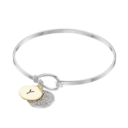 Two Tone Silver Plated Crystal Initial Disc Charm Bangle Bracelet