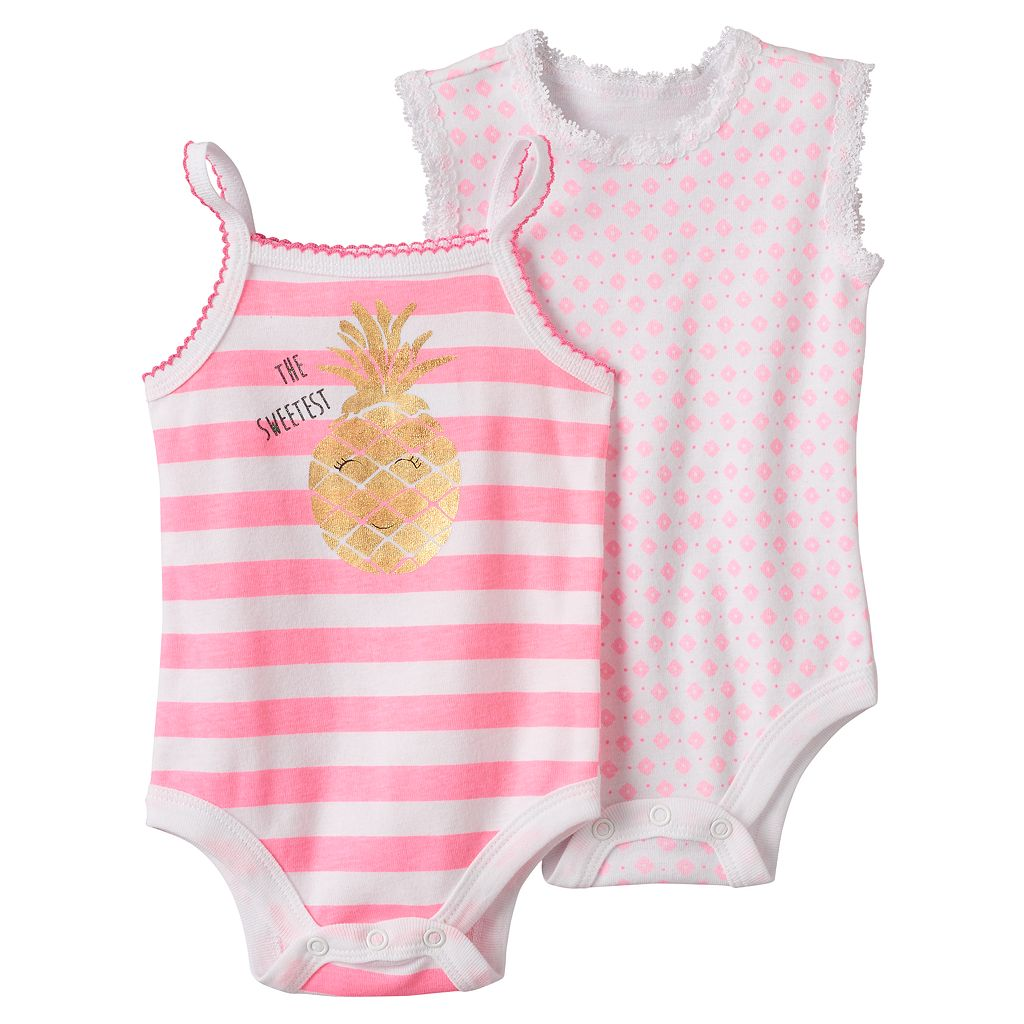 Baby Girl Baby Starters 2-pk. Pineapple Graphic & Floral Print Bodysuits