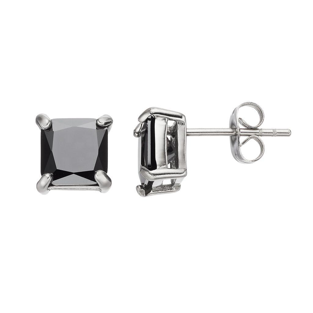 Men's Stainless Steel Black Cubic Zirconia Square Stud Earrings