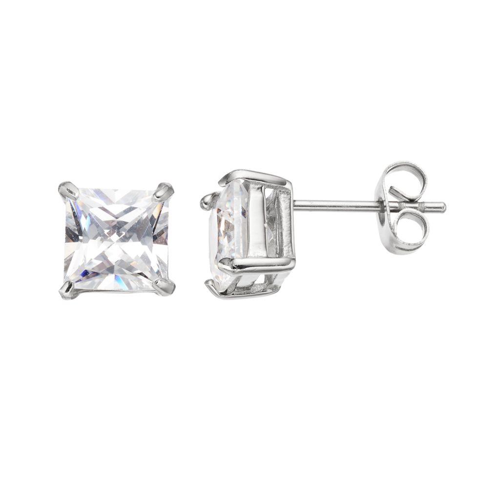 Men S Stainless Steel Cubic Zirconia Square Stud Earrings
