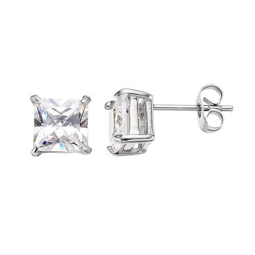 Men's Stainless Steel Cubic Zirconia Square Stud Earrings