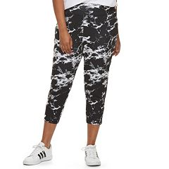 Juniors' Plus Size SO® Marble Print Yoga Capri