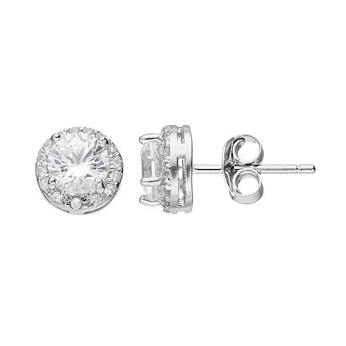 RADIANT GEM Sterling Silver Lab-Created White Sapphire Halo Stud Earrings