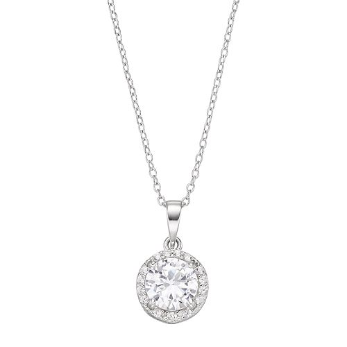 RADIANT GEM Sterling Silver Lab-Created White Sapphire Halo Pendant