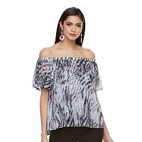 Petite Jennifer Lopez Off-the-Shoulder Pleated Top