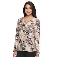 Women's Dana Buchman Lace-Up Crepe Blouse