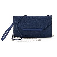 Lenore by La Regale Floral Lace Convertible Envelope Clutch