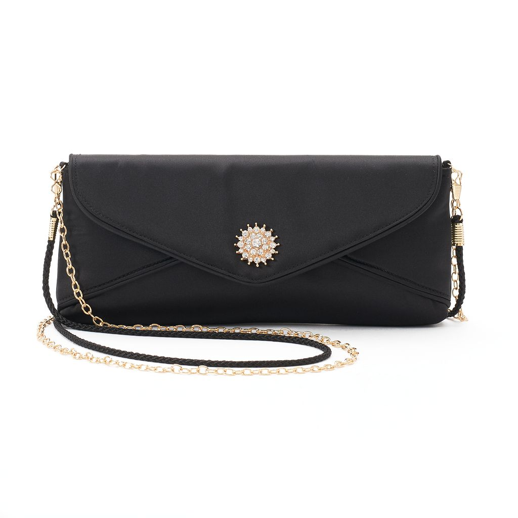 Lenore by La Regale Rhinestone Medallion Envelope Clutch