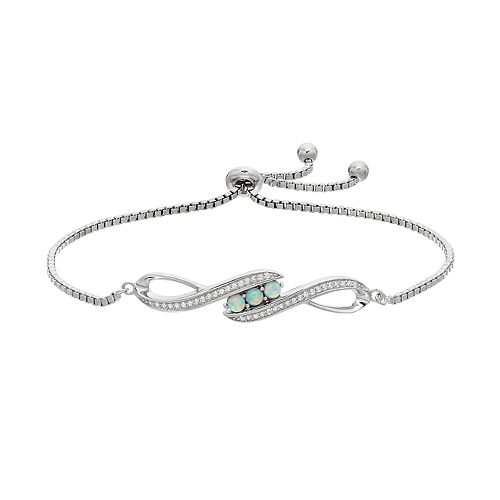 Sterling Silver Lab-Created Opal & White Sapphire Infinity Bolo Bracelet