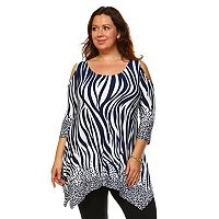 Plus Size White Mark Cold-Shoulder Shark-Bite Tunic