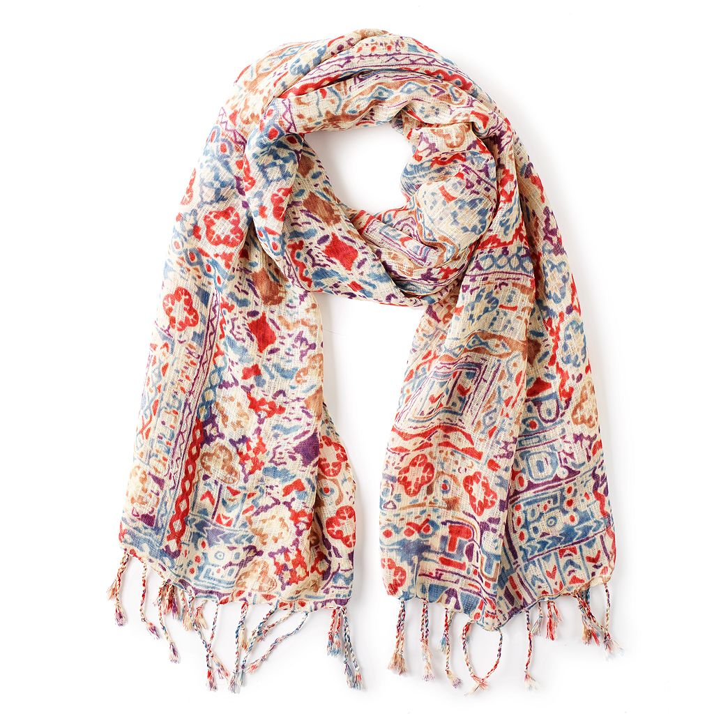 Chaps Fringed Tile Oblong Scarf