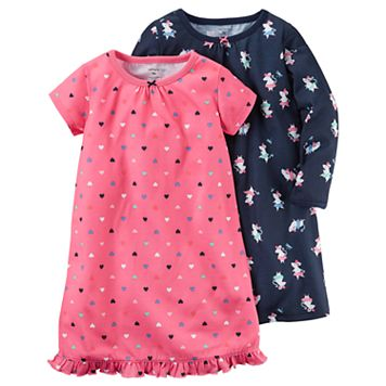 Girls 4-14 Carter's 2-pk. Heart Pattern & Ballerina Mouse Nightgowns