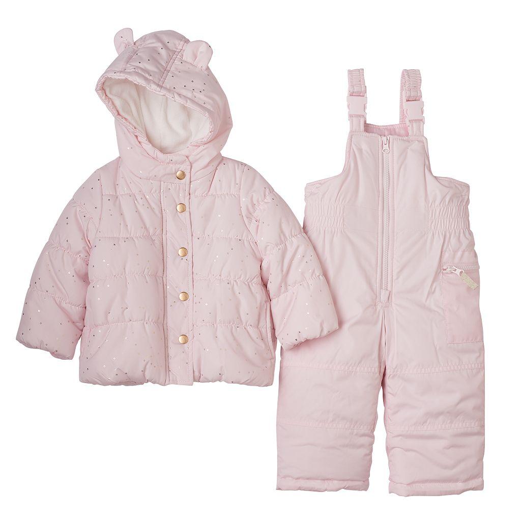 Toddler Girl Carter's Solid Puffer Jacket & Fairisle Bib Snow Pants Snowsuit Set