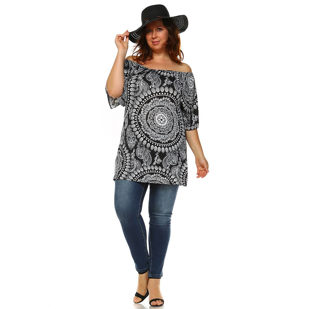 Plus Size White Mark Off-the-Shoulder Printed Top