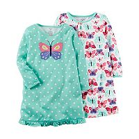 Girls 4-14 Carter's 2-pk. Butterfly Nightgowns