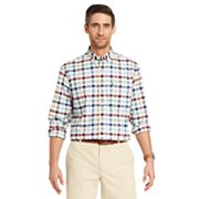 Men's IZOD Saltwater Regular-Fit Plaid Oxford Stretch Button-Down Shirt