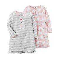 Girls 4-14 Carter's 2-pk. Polar Bear & Striped Nightgowns