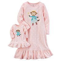 Girls 4-14 Carter's Monkey Microfleece Dorm Nightgown & Doll Gown Set