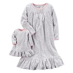 Girls 4-14 Carter's Cheetah Print Microfleece Dorm Nightgown & Doll Gown Set