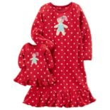 Girls 4-14 Carter's Gingerbread Polka-Dot Fleece Nightgown & Doll Dress Set
