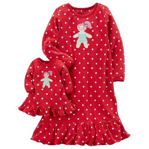 Girls 4-14 Carter's Gingerbread Polka-Dot Fleece Nightgown & Doll Dress Set