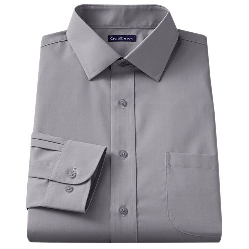 Croft & Barrow® Slim-Fit Solid Broadcloth Spread-Collar Dress Shirt
