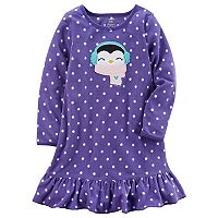 Girls 4-14 Carter's Penguin Polka-Dot Microfleece Dorm Nightgown