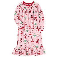 Girls 4-14 Carter's Santa Print Fleece Nightgown
