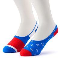 Men's 2-Pack Patterned No-Show Liner Socks