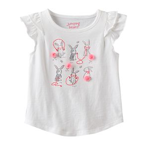 Toddler Girl Jumping Beans® Flutter Short Sleeve Embroidered & Embellished Bunny Graphic Tee