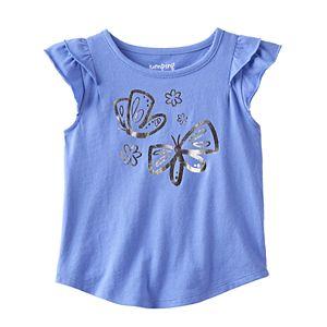 Toddler Girl Jumping Beans® Flutter Short Sleeve Butterfly Foil Graphic Tee
