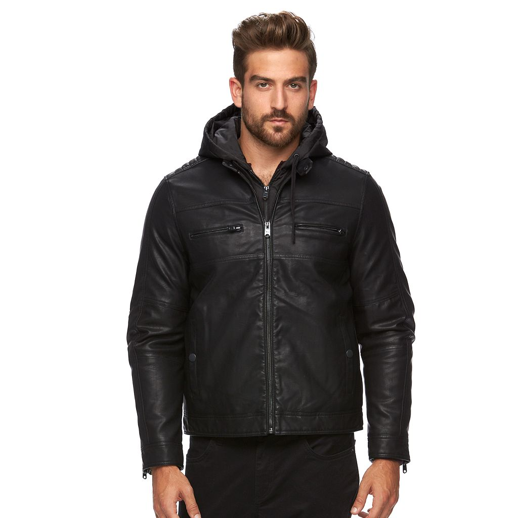 Men's Marc Anthony Slim-Fit Faux-Leather Hooded Moto Jacket