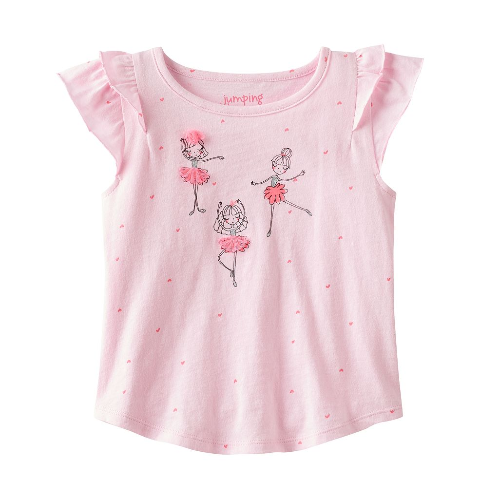 Toddler Girl Jumping Beans® Flutter Short Sleeve Embellished Ballerina Graphic Tee