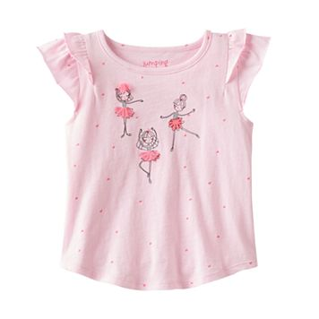 Toddler Girl Jumping Beans® Flutter Short Sleeve Embellished Ballerina Graphic Tee