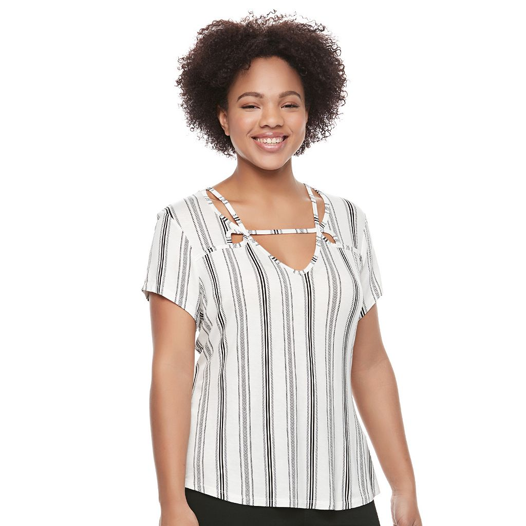 Juniors' Plus Size Candie's® Strappy Cutout Top