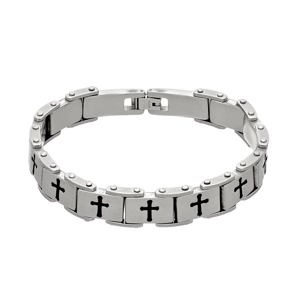 1913 Men's Stainless Steel Cross Bracelet