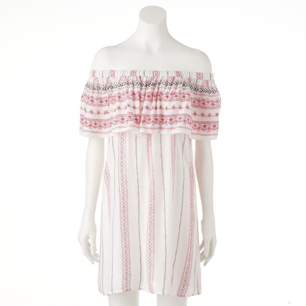 Women's E by Elan Off-the-Shoulder Ruffle Shift Dress