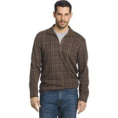 Big & Tall Men's Arrow Classic-Fit Windowpane Fleece Quarter-Zip Sweater