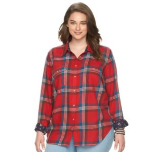 Plus Size Chaps Plaid Twill Button-Down Shirt
