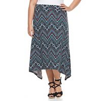Plus Size French Laundry Printed Shark-Bite Midi Skirt