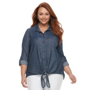 Plus Size French Laundry Roll-Tab Tie Front Shirt