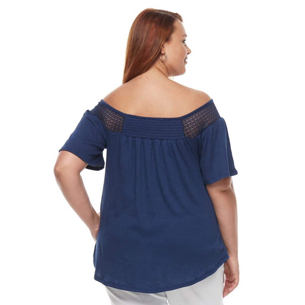 Plus Size French Laundry Off Shoulder Peasant Top