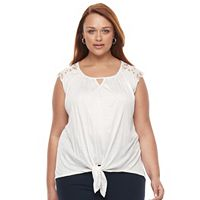 Plus Size French Laundry Crochet Hi-Low Sleeveless Top