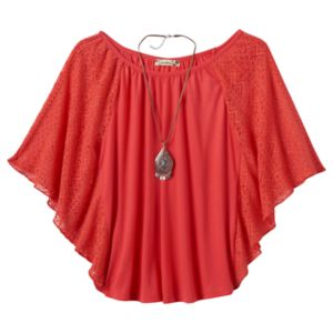 Girls Plus Size Speechless Flutter-Sleeve Top & Necklace Set